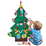 Fansport Albero di Natale in Feltro Fai da Te con 26pcs Ornamenti di Natale 3,2ft Albero di Natale Appeso a Parete di Natale Regali di Natale Decorazioni Natalizie