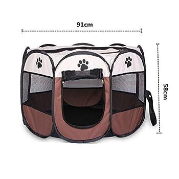 Wiiguda@ Parc à chiot, chien, chat, animaux, pliable, à l'intérieur ou à l'extérieur, facile à monter, taille L : 91X91X58cm.