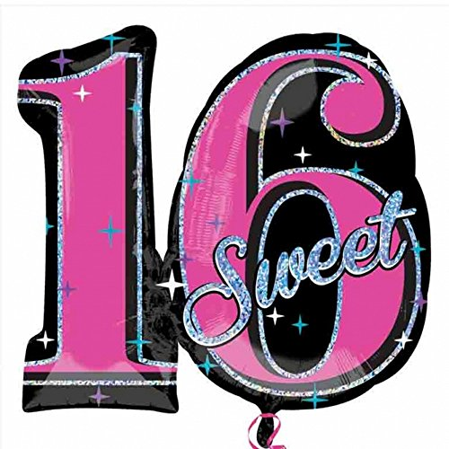amscan Supershape Folien-Ballon mit Sweet 16 Design (Einheitsgröße) (Schwarz/Pink) (16 Sweet Ballons)