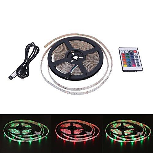 ledmomo 1m wasserdicht 3528mit USB Kabel und 24Schlüssel RGB wechselt die LED-Streifen Lampen wechselt Hausgemachte Hausgemachte für den Garten, Tanz, Dekoration Partei