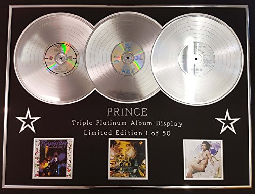 PRINCE /Dreifach-Platin Album anzeigen/Limitierte Edition/PURPLE RAIN + SIGN 'O' THE TIMES + LOVE SEXY/COA
