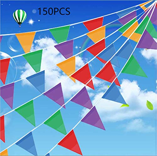 Leixi 150 Stück Mehrfarbige Wimpel Banner, 100M Nylon Stoff Dekorationen Flaggen Für Festival Grand Opening Parteien und Hinterhof Picnics -