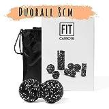 Fitcarrots Duoball 8 cm - Faszien-Ball für Faszientraining, Selbstmassage, Triggerpunkttherapie von Nacken, Rücken, Armen und Waden, von Experten empfohlen, inkl. Startguide - schwarz