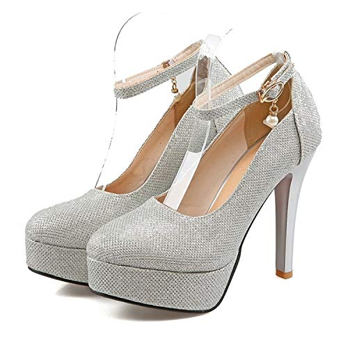 MENGLTX High Heels Sandalen Frühling Und Herbst Stil Damen Schuhe Damen High Heels Hochzeit Pumps11 Silber (Damen 11 Größe Silber Pumps)
