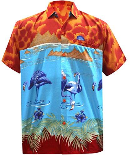 La Leela Strand Hawaiihemd Herren XS 5XL Kurzarm FrontTasche HawaiiPrint  Casual Button Down Hemd Blau Orange Blau Flamingo