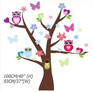 PVC Hibou Decal Stickers muraux repositionnables Enfant Arbre 100cm(H)*93cm(W)
