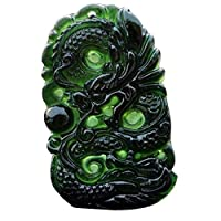 lennonsi Natural Black Green Jade Pendant Dragon Shaped Handmade Jade Desktop Ornaments