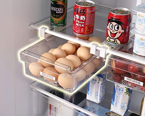 Hapileap Kühlschrank Schublade Organizer Einzigartiges Design Zehen Mülleimer Kühlschrank Regal Halter Aufbewahrungsbox Home Organizer (Pack of 1) -
