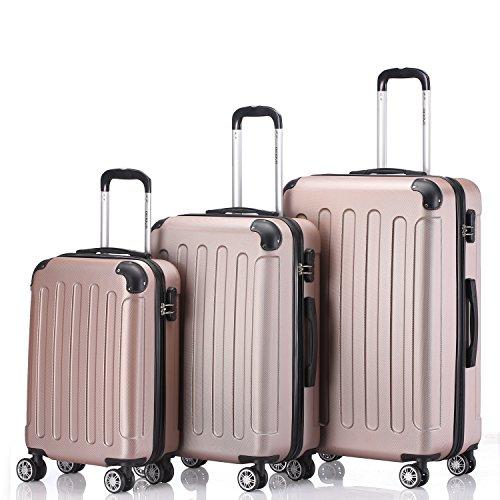 Zwillingsrollen 3 tlg.2045 neu Reisekofferset Koffer Gepäckset Kofferset Trolleys Hartschale in 14 Farben (Rosa Gold)
