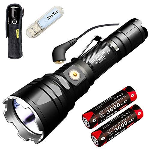 Klarus XT12GT Tactical Taschenlampe CREE LED XHP35 HI D4 1600 Lumen Taschenlampe Magnetic Charging Verlängert Reichweite 603 Meters mit 2* 3600 mAh Akku und BanTac USB Lampe -