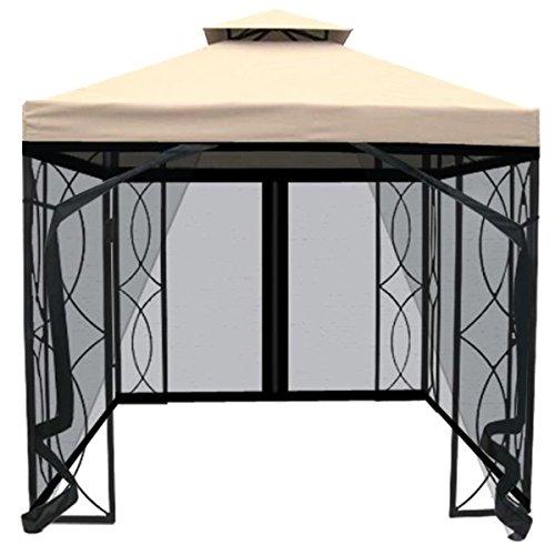 Charles Bentley 3m x 3m Carpa Arte Acero Partido Gazebo Crema Con pantalla de la mosca Y Negro cortina del acoplamiento