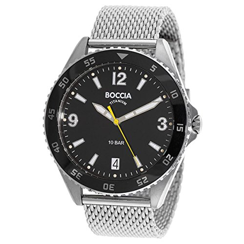 Boccia Herren Analog Quarz Uhr mit Titan Armband 3599-01