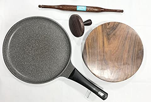 Deluxe Rose Wood Indian Chapati Roti Making Set, Tawa, Fluffer, Rolling Pin and Board