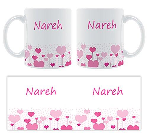 nareh – Motif cœurs – Femelle Nom personnalisable Mug en céramique