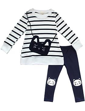 FEESHOW Conjuntos niña top de Camiseta Manga Larga de Raya y Pantalones para invierno Ropa niña con mono Gatito...