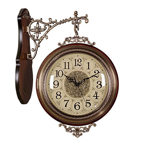 Sided Wall Double Clock (doppelseitige Wanduhr, Massivholz Metallstummel auf beiden Seiten, um die zeitlose Bewegung Metall Klammern und Zubehör Wanduhr zu sehen , 001 , 20 inch)