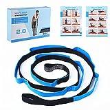 MystiTL Cintura Yoga per allungamento con 10 Loop - Banda di elasticità non elastica per esercizi di terapia fisica - Strumentazione consigliata per allenamenti fitness e pilates