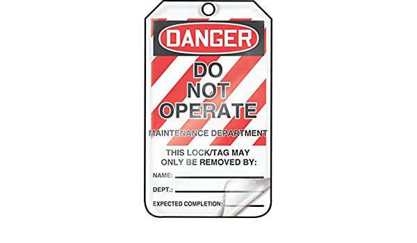 5.75 Length x 3.25 Width x 0.024 Thickness Pack of 25 Accuform MLT401LTP HS-Laminate Lockout Tag Red//Black on White LegendDanger DO NOT Operate Maintenance Department LegendDanger DO NOT Operate Maintenance Department