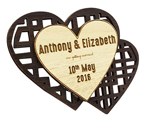 Darling Souvenir 10 Speichern Sie die Holzdatumsmagnet Gewohnheit gravierten Holz Magnet rustikale Hochzeit Ankündigungen Idee