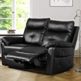 Leisure Zone Luxury PU Leather Sofa Recliner Set Loveseat Set Sofa Recliner Sofa Suite Lounge Couches Sets Armchair Available for Home Lounge Living Room (2 Seater)