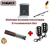 Sommer Schiebetorantrieb RUNner 3er-Set inkl. 3 Handsender und 4 m Zahnstange - Torantrieb Schiebetor Toröffner Tor Antrieb