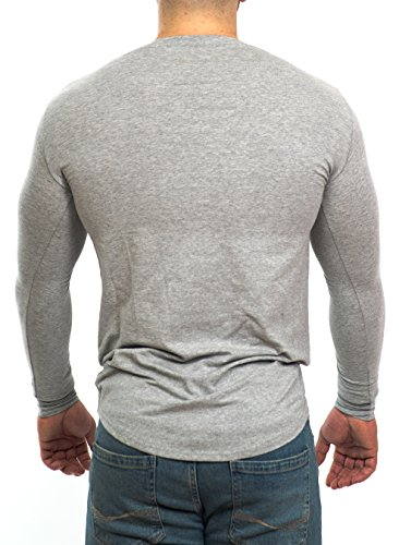 D.K Fit Oversize Langarm/Longsleeve Shirt - Muscle Fit - Slim Fit - Fitness Herren Longshirt - Grau, Schwarz, Khaki/Olive Grün, Beige Grey