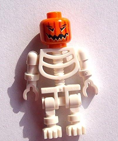 Tête de citrouille blanche squelette lego orange squelette blanc Halloween minifigure