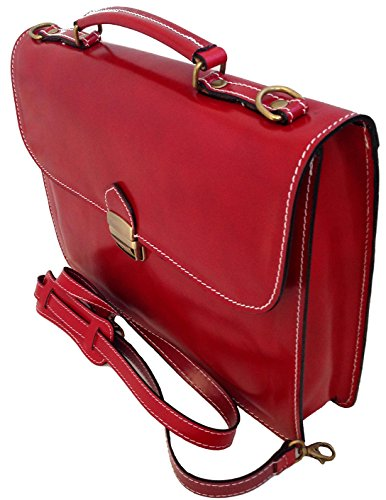 Man Tasche von CTM Arbeitsordner, Port Dokumente, 38x27x7cm, 100% echtes Leder Made in Italy Rot
