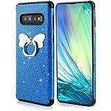Misstars Glitzer Hülle für Galaxy S10 Blau, Bling Pailletten Weiche TPU Silikon Handyhülle Anti-Rutsch Kratzfest Schutzhülle mit Schmetterling Ring Ständer für Samsung Galaxy S10