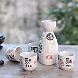 5 Piece Japanese Sake Cup Set Hand Painted Porcelain Pottery Ceramic Crafts Wine Cups (1#)