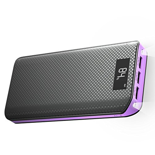 Galleria fotografica Caricabatterie Portatile X-DRAGON 20000mAh Power Bank Batteria Esterna con Display LCD 3 Porte USB per iPhone, iPad, Samsung, Huawei, Smartphone, Android, Cellulari, Universale Cellulare - Viola