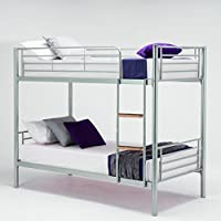 Single Sleeper Bunk Bed Metal Single Twin 2 Children's Bunk Bed (Silver)