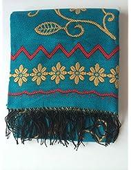 Estilo retra de la Nepal de la moda de las mujeres demasiado largas engrosamiento mantón de la bufanda de manta de abrigo con borlas acogedor imitación Cachemira viaje compañero 160 * 130cm