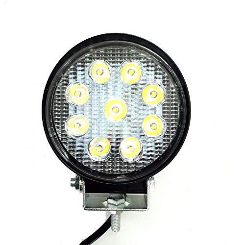 Eidyer LED Faro da lavoro,Luci da lavoro a LED rotonde da 27W, lampada da lavoro a LED per auto 10V-30V DC 2700LM Faretto da incasso ad alta potenza Luce bianca fredda 6000K-6500K, IP67
