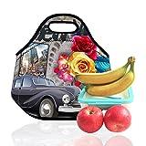 Ambielly Neopren-Mittagessen-Beutel / Mittagessen-Box / Lunch Tote / Picknicktaschen Isolierkühlvorrichtung Travel Organizer (Auto&Blume, 1)