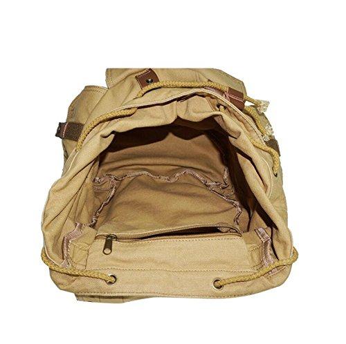 LF&F Backpack Hochwertige Leinwand Mode Casual Rucksack Sport Reisen Rucksack Unisex Schultertasche Mehrzweck Wochenende Urlaub GepäCk Tasche Daypacks Khaki