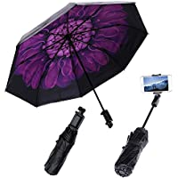 merrya antivento anti-uv pioggia ombrello da viaggio pieghevole allungabile Selfie Stick con Wireless Bluetooth scatto remoto per iPhone 7 7s 6 6S Plus 5 5 C 5S Samsung Galaxy Sony HTC Moto Android Purple