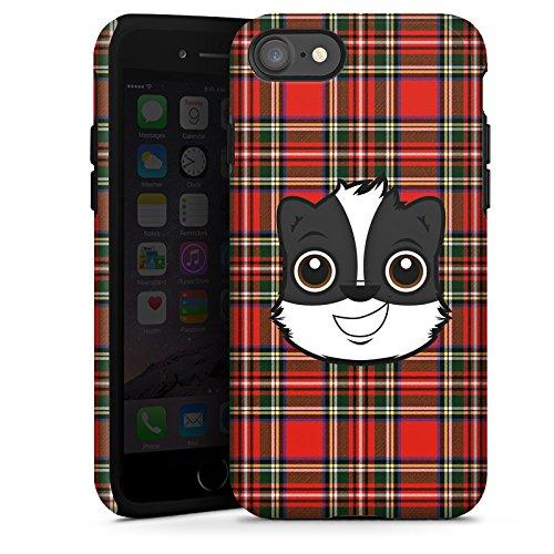 Apple iPhone X Silikon Hülle Case Schutzhülle Dachs Comic Karomuster Tough Case glänzend