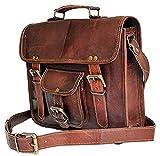 Tuzech Pure Cuir Unisexe Bureau formelle de voyage Marron sacoche pour ordinateur portable–Compatible avec ordinateur 18 inches marron