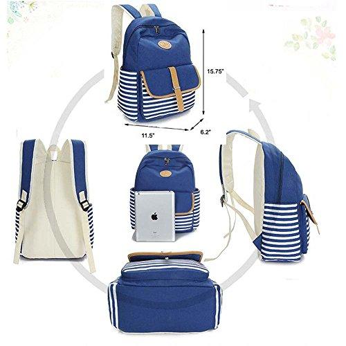 Unisex Canvas Leichte Laptop-Tasche / Schulter Daypack / Strap Schulrucksack / beiläufige Handtasche (Himmelblau) marineblau