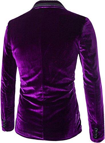 Jeansian Hommes Manteau Personality Design Corduroy Leisure Suit Jacket 9372 purple