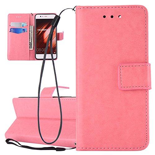 Custodia per Huawei P10, ISAKEN Flip Cover per Huawei P10 con Strap, Elegante Bookstyle Contrasto Collare PU Pelle Case Cover Protettiva Flip Portafoglio Custodia Protezione Caso con Supporto di Stand Rossa