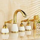 Badewanne Wasserhahn Messing Weiß Keramik Gold Luxus 5 Loch Bad Wasserhahn Set Regendusche Hand Waschbecken Heiß Kalt Mischbatterie
