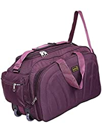Alfisha Unisex Lightweight Waterproof Polyester Purple Travel Duffel Bag Luggage with Roller Wheels