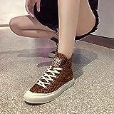 Women'S Leopard Print Round Toe Flat Non-Slip Keep Warm Kurze Bare Boots Cotton Shoes Ritter Shoes Stiefel Wildleder Freizeitschuhe Halten Warme Schuhe Flache Sportschuh Rutschfeste(Khaki,40) Vergleich