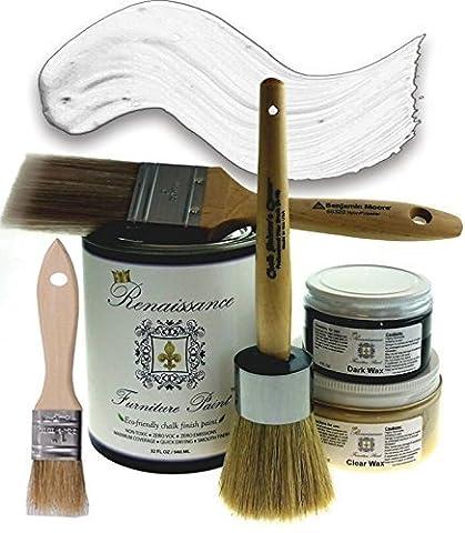 Renaissance Chalk Furniture Paint Deluxe Starter Kit - 32oz Paint/8oz Clear Wax/4oz Dark Wax/2 Paint Brush/1.5 Wax Brush/1 Detail Wax Brush! - Snow (DSK) by Renaissance Furniture Paint