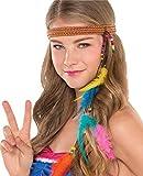 Fancy Me Damen Hippie 60s Jahre 1960s Jahre Sechziger Kostüm Verkleidung Zubehör Haarband Stirnband Bunt mit Perlen & Federn Karneval Festival