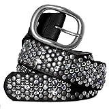 CASPAR Damen Vintage Gürtel mit Strass Steinen und Nieten Teil Leder - viele Farben - GU263, Länge:80;Farbe:schwarz