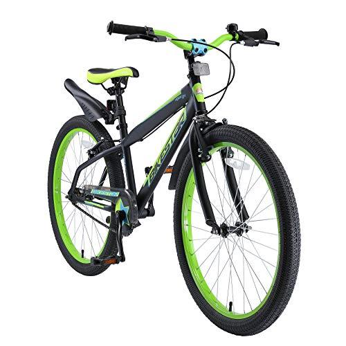 "BIKESTAR Bicicleta Infantil para niños y niñas a Partir de 10 años | Bici de montaña 24 Pulgadas con Frenos | 24"" Edición Mountainbike Nero Verde"