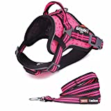 DogHelios Reflective Breathable No Pull Adjustable Service Dog Vest Harness with Leash M Red